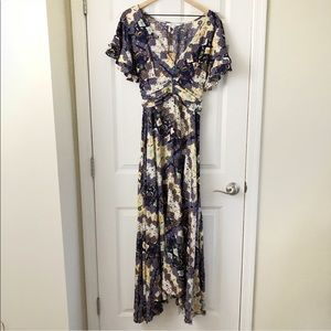 NWT Abel The Label Gandhi blue floral maxi XS